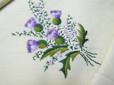 Irish Linen Tea Set- Thistle Embroidered- Tablecloth and Four napkins in original box via Etsy