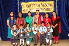 Winners of story recitation competition posing with judges and staff members #SMIPS #StMarysInfantPreSchool #st_marys_infant_pre_school_jammu #preschoolactivities #preschools_in_jammu #playschool #kindergarteninjammu
