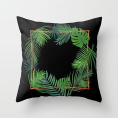 Tropical Copper Greenery Throw Pillow by Xiari at society6 . tropical , exotic, greenery, copper, geometrical, geometry, pattern, gold, brass, minimal, leaf, leaves, scandinavian design, art print, duvet cover, trend, design, interior design, wall art, wall tapestries, digital, society6, green, xiari