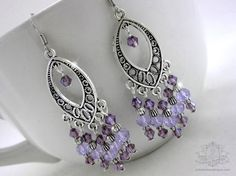 Magic Carpet Ride $14.00 Handmade lavender chandelier crystal earrings. Swarovski crystal, Tibet silver on silver plated wire.