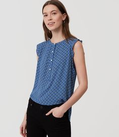 Primary Image of Diamond Floral Ruffle Henley Shell