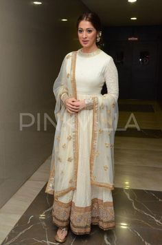 The lovely Raai Lakshmi is seen here at the audio launch of Telugu film Kotikokkadu. The south beauty looked ethereal in a cream Sabyasachi creation. Indian Party Wear, Indian Wedding Outfits, Indian Wear, Indian Outfits, Anarkali Dress, Pakistani Dresses, Indian Dresses, White Anarkali, Anarkali Suits