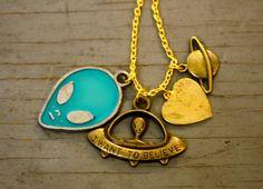 I Want To Believe Alien Charm Cluster Necklace by PenelopeMeatloaf, $34.00 #XFiles #educatinggeeksfind