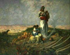 Algérie - Peintre Français Alfred CHATAUD (1833-1908), Huile sur toile ,Titre: Campement kabyle dans les montagnes