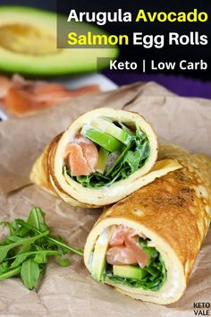 This low-carb arugula avocado salmon egg rolls recipe is very delicious easy to prepare and works great as a breakfast snack and even lunch. Salmon Egg Rolls Recipe, Avocado Egg Rolls, Breakfast Snacks, Low Carb Breakfast, Breakfast Recipes, Keto Salmon, Salmon Avocado, Smoked Salmon, Egg Roll Recipes