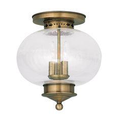 Livex Lighting Harbor 11-in W Antique Brass Ceiling Flush Mount
