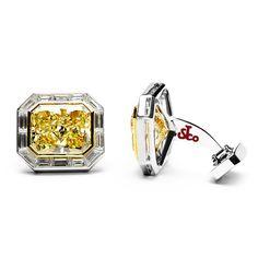 Emerald Cut Canary Diamond Cufflinks - for THAT occasion