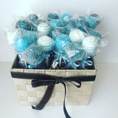 Blue cake pop arrangements