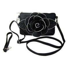 Faux Leather Flower Wristlet Bag ($8.98) ❤ liked on Polyvore featuring bags, handbags, clutches, gamiss, vegan handbags, wristlet purse, wristlet handbags, synthetic leather handbag and flower purse