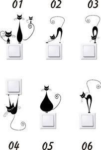 Vinilos enchufes gatos stickers pegatinas