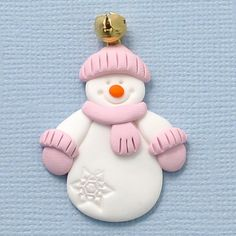 Fimo Snowman with Bell Hat, Pink