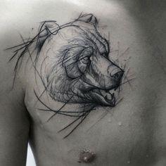 Sketch Style Bear Tattoo by Kamil Mokot