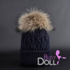 "49.00$  Buy here - http://virbx.justgood.pw/vig/item.php?t=mt44o952329 - Large Genuine Raccoon Fur Pompom knitted Braided Beanie ""Smoky Indigo"" Hat Big R 49.00$"