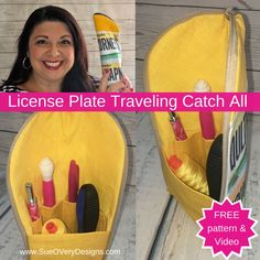 FREE Pattern: License Plate Traveling Zipper Catch All - https://sewing4free.com/license-plate-traveling-zipper-catch-all/