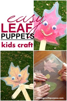 Easy DIY: Colorful Fall Leaf Puppet Craft for Kids with Household Supplies - Looking for a fun Fall craft to do? This is a neat activity to do with kids using pretty Fall leave - Kids Crafts, Crafts For 2 Year Olds, Easy Fall Crafts, Daycare Crafts, Fall Crafts For Kids, Halloween Crafts For Kids, Thanksgiving Crafts, Craft Stick Crafts, Toddler Crafts