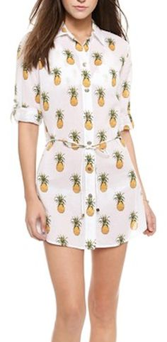 pineapple print casual beach shirt