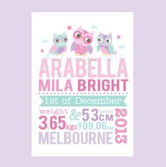 OWL Personalised Birth Print - Custom baby announcement nursery wall art pink purple mauve mint