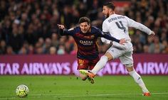 Barcelona 1 Real Madrid 2 : Sergio Ramos takes down Lionel Messi.