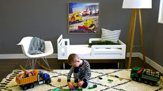 How fun are these canvas wall art and rug collections from @AvalisaDesign?! Perfect for a modern big boy room!