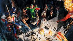 Invaders airdrop from Marvels #1 by Alex Ross: Bucky, Captain America, The Sub-Mariner, Vision, Destroyer, Black Widow, The Fin, Blazing Skull, Black Marvel, The Human Torch and Toro.