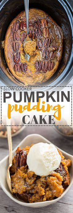 Slow Cooker Pumpkin Pecan Pudding Cake is the perfect decadent dessert for fall. Best of all, this cobbler type dessert recipe is so easy to make with less than 20 minutes of prep time and cooks entirely in your crock-pot!