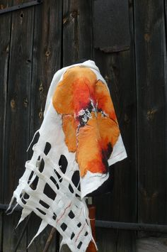 Nuno Felted ScarfWhite and Orange  Felted von ArtFeltbyDiana