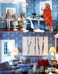 China Seas Arbre de Matisse wallpaper sofa chairs banquette Tory Burch  love