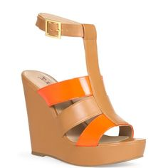 JustFab - Sunset  Price: $55  Fun and lightweight wedge with broad contrasting straps and adjustable fastener at the ankle. Your pop of color for sunshine season.