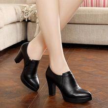 Primavera y otoño gruesos zapatos de tacón alto de la moda de las mujeres de las mujeres zapatos de cuero genuino primera capa de piel de vaca plataforma bombas(China (Mainland))