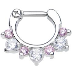 """14 Gauge 1/4"""" Seven Pink and Clear Cubic Zirconia Septum Clicker   Body Candy Body Jewelry #bodycandy #septum $9.99"""