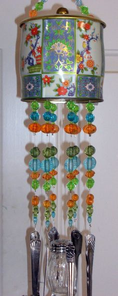 English Candy Tin Windchimes with silverware & glass salt shaker