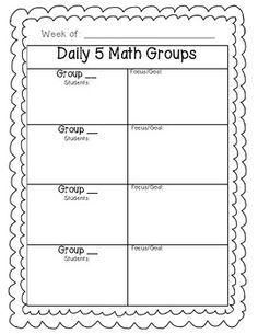 Daily 5 Math Planning Sheet FREEBIE