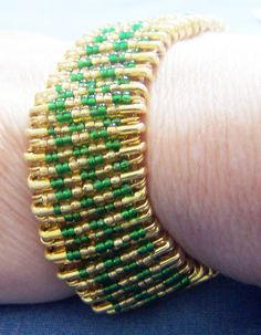 Beaded Safety Pin Bracelet St. Patrick's Day by CreativeXpression1