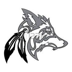 tatouage plume: Tête de loup tribal Illustration