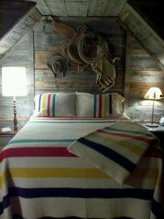 Hudson Bay colors - rustic cabin.