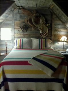 cottage style, bedroom, cowboy living, western, red, yellow, navy blue, green, striped, matching, wool, winter, cozy repin: Hudson's Bay Blankets