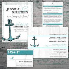 Anchor Wedding Set - Nautical Wedding Invitation, RSVP Card, Save the Date and Wedding Insert