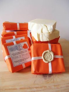 wax seal, ribbon, tissue paper