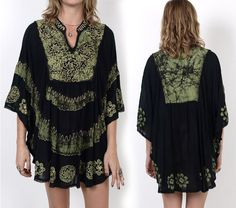 90's Ethnic Embroidered Rayon Caftan Mini by MamaStoneVintage