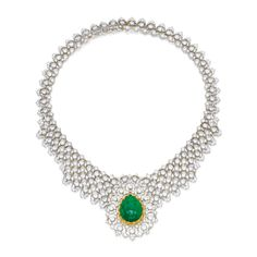 Magnificent Jewels ~ 18 Karat Two-Color Gold, Emerald and Diamond Necklace, Buccellati