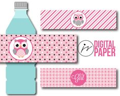 Baby pink polka dots and stripes baby shower water bottle labels with owls, BY2-20