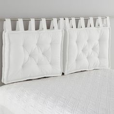 Headboard Cushion LA REDOUTE INTERIEURS Cushion headboard, beautifully finished with large knots that give it a charm. Pillow Headboard, Bed Pillows, Cushions, White Headboard, Futon Bedroom, Bedroom Decor, Futon Diy, Futon Covers, Headboards For Beds
