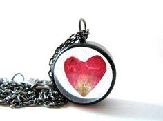 Heart Rose Petal Necklace  Real Rose petal encased by ScrappinCop, $12.50