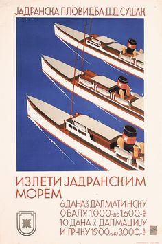 Wagula, Hanns 1894 - 1964. Jadranska Plovidba D.D. Susak (Yugoslav text). Offset approx. 1937. Size: 37.4 x 24.8 in. (95 x 63 cm). Printer: Tipografija, Zagreb.