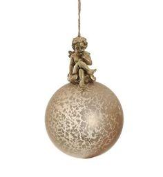 Swiet Home kerstbal / kerst hanger met engeltje aan de bovenzijde, model Pery Glasbel. Doorsnede ca 8 cm en hoogte ca 12 cm - NummerZestien.eu
