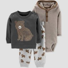 Just One You made by Carters Baby Boys  Bear 3pc Set - Brown  babyboy dff6e9cfd
