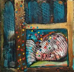 """Acrylic on canvas with feathers on the edges / Acrylique sur toile avec plumes sur les côtés - 14"""" X 14""""/35 x 35 cm Acrylic Paintings, Art, Feathers, Canvas, Art Background, Kunst, Gcse Art, Art Education Resources, Artworks"""