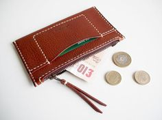 Leather Zip Wallet, Leather Wallet with Card Pocket, Leather Zip Pouch