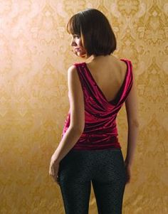 A deep cowl at the back neckline transforms a basic tank into a party-ready top.