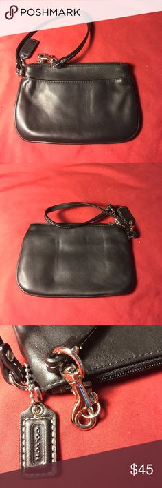 *PRICE DROP* Black leather Coach wristlet Soft black leather. One of my faves. Silver hardware.  Also have one brand new with tags on posh. Coach Bags Clutches & Wristlets